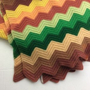 Vintage Green Brown Yellow Afghan Granny Blanket